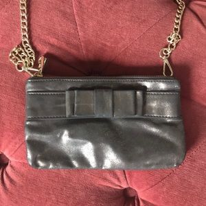 Ann Taylor now clutch purse shimmery silver/gold